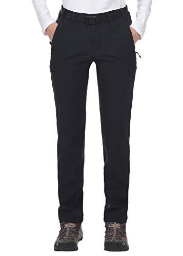MIER Damen Winter Wanderhose Stretch Softshellhose mit Fleece gefüttert, wasserabweisend & 6 Reißverschlusstaschen, Schwarz, Damen, schwarz, Medium (Fleece-6-pocket Pant)