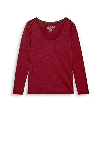 edc by ESPRIT Damen Langarmshirt Rot (Bordeaux Red 600)