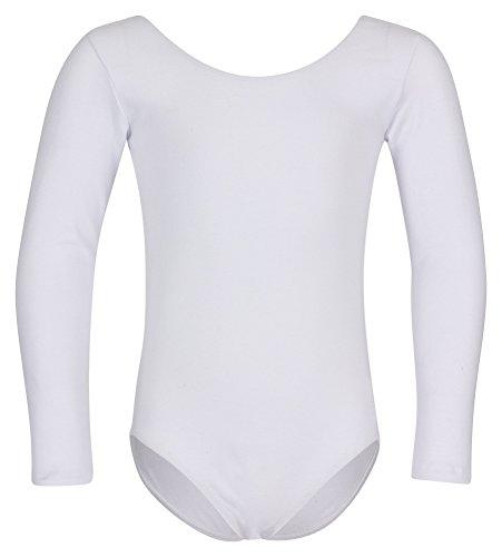 """tanzmuster Kinder Ballettanzug """"Lilly"""" mit langen Ärmeln und rundem Hals- und Rückenausschnitt. Schlichtes Ballett Trikot als Grundausstattung für die Ballettstunde in weiß, Größe:116/122"""