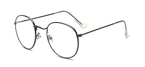 ALWAYSUV Modische Runde Rahmen Brillenfassung Klare Linse Brille Nerdbrille (Grau)