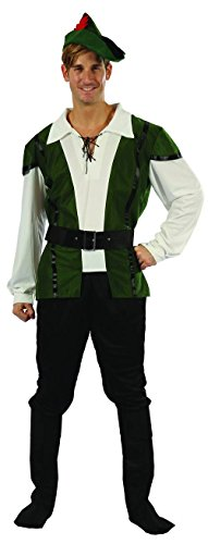 Mittelalterlicher Jäger Kostüm Bogenschütze grün-schwarz-beige (Kostüm Jäger Mittelalterliche)