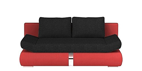 Schlafsofa Sofa Couch PLAY (rot / schwarz)