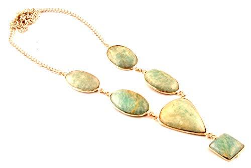 Indie Artisans - Collar con Colgante de Gema de Amazonita auténtica y Natural para Mujer, Chapado en Plata de Ley 925, Piedra Natural de Amazonita