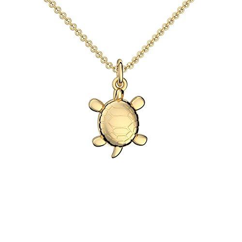 Schildkröte Anhänger Gold 585 + inkl. GRATIS Luxusetui + Schildkröten Kette mit Schildkröte Anhänger echt Gold Goldkette Gelbgold 585er Tieranhänger Schmuck Halskette FF396 GG58545