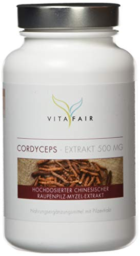Cordyceps Extrakt - 500mg pro Tagesdosis - 90 Kapseln - 40% Polysaccharide = 200mg - Hochdosierter Cordyceps Sinensis (CS-4) - Vegan - Ohne Magnesiumstearat - Made in Germany
