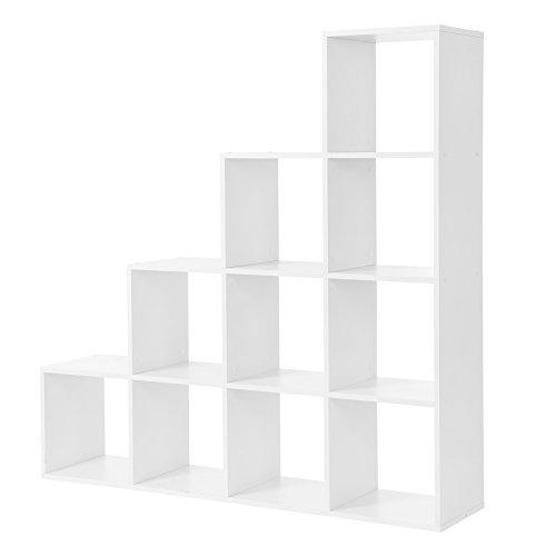 VASAGLE LBC10WTV1 ÉTagère escalier, Meuble de rangement, 10 Compartiments, pour bibliothèque, salon, chambre, Blanc