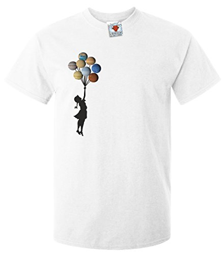 Reality Glitch Herren Planet Balloons T-Shirt (Weiß, Groß) (New Herren Guy)
