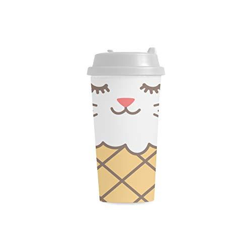n Karikatur Gewohnheit personalisierter Druck 16 Unze Doppelwand Plastikisolierte Sport Wasser Flaschen Schalen Pendler Reise Kaffeetassen für Studenten Frauen Milch Teetasse ()
