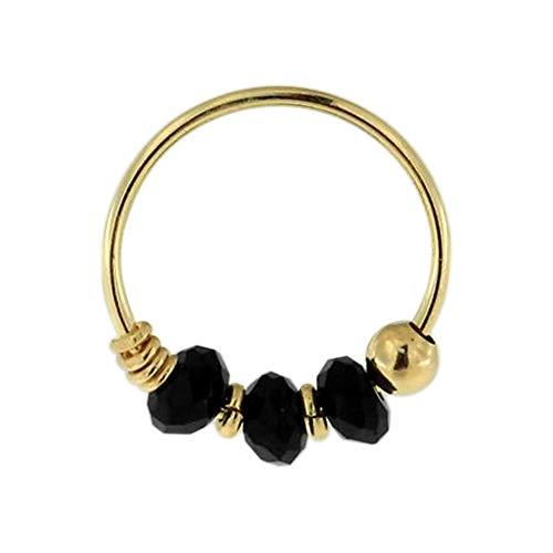 9K solide Gelb Gold Triple Black Crystal Bead 22 Gauge Hoop Nase Piercing Ring Schmuck