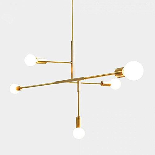 Modern Metall Anhänger Lighting Hängelampe Deckenleuchte Kronleuchter mit 5Lichtern gold finish Bestandteil Flush Mount (Metall-kronleuchter)