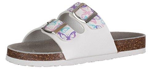 BRANDSSELLER Damen Bio - Pantolette Schmetterling/Sandalette / Velourlederfußbett/Eva-Sohle - Farbe: Weiß - Größe: 38