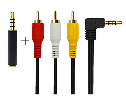 3,5 mm bis 3 Cinch AV-Audio-und Videokabel für TV-Box / MP3 / PC/Kamera mit geschirmten 3,5 mm vergoldet 90 Grad Ellbogen, 3 Cinch-Stecker Audio- und Videokabel(3,5 Ellenbogen 1 m) Sony-kabel Video-kabel