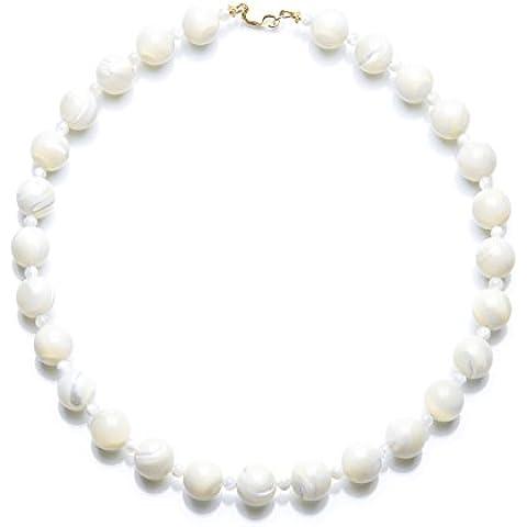 hi-perle–Collana in pietra naturale di madreperla bianca (grandi perle)
