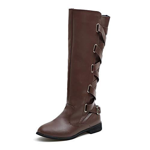 c59ad87c26a ZODOF Botas Planos Alto Top de Medieval Style para Mujer Mujer Zapatos de  Mujer Hebilla Romana