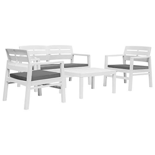 Festnight 4-teiliges Garten Essgruppe | Gartengarnitur Gartenset | Outdoor Lounge-Set | Sitzgruppe Essgruppe Set | Sitzgarnitur Terrassenmöbel | Gartenmöbel Set | Weiß Kunststoff