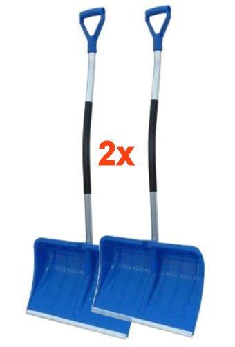 BBT@ / 2 Stück Schneeschaufel Blau + Ergonomisch geformter Aluminium-Stiel + D-Griff + Kantenschutz aus Aluprofil / Leicht + Stabil / Blatt: 55x36cm / Gesamtlänge: 135cm / Schneeschieber Winterdienst Schneeräumer Schneepflug