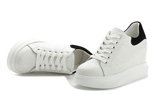 Damen Sneakers-Wedges Hidden Heel Keilabsatz Plateau Schuhe Schwarz