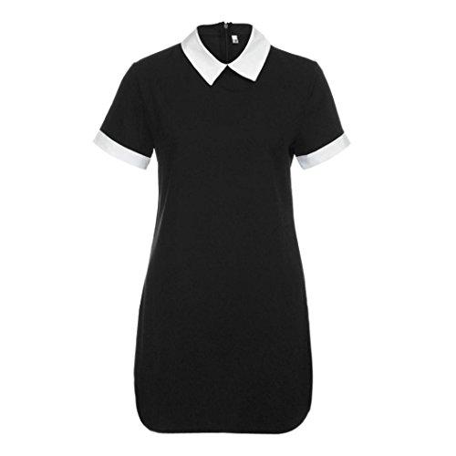 HARRYSTORE Frauen Sommer Beiläufiges Hemd Art Kurzschluss Hülse Turndown Kragen Kurzschluss Minikleid (XL, Schwarz) (Prinzessin T-shirts Damen-baby-puppe)