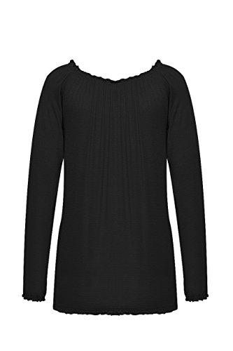 Madonna Damen Shirt Langarm Rundhals Damen Tshirt Oberteil Schwarz