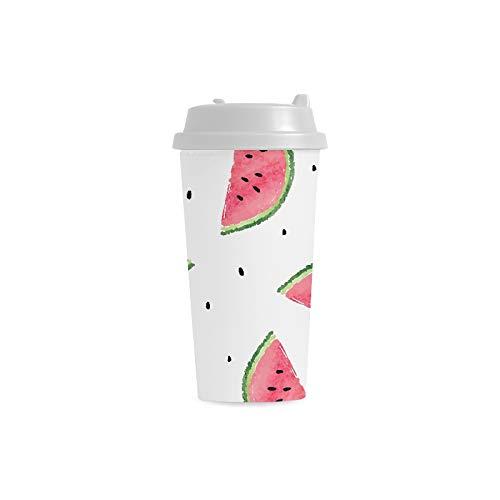 ommer Wassermelone kundenspezifischer Druck 16 Unze doppelwandiger Plastikisolierkunstsport Wasser Flaschen Schalen Pendler Reise Kaffeetassen für Studenten Frauen Milch Teacup ()