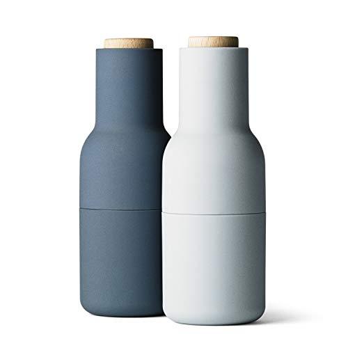 Menu - Bottle Salz- und Pfeffermühlen Set, klein, hellblau (Holzdeckel)