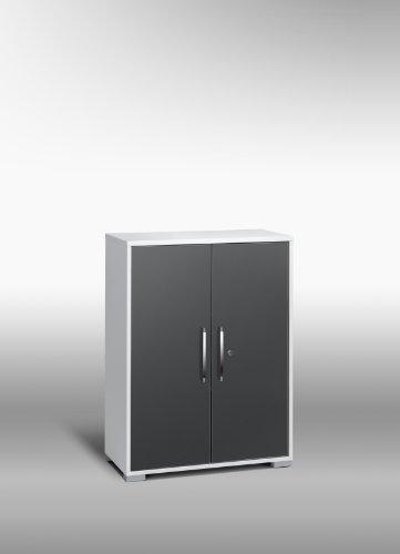 MAJA-Möbel 1226 3974 Aktenregal mit Türen, Icy-weiß - grau Hochglanz, Abmessungen BxHxT: 80 x 109,7 x 40 cm