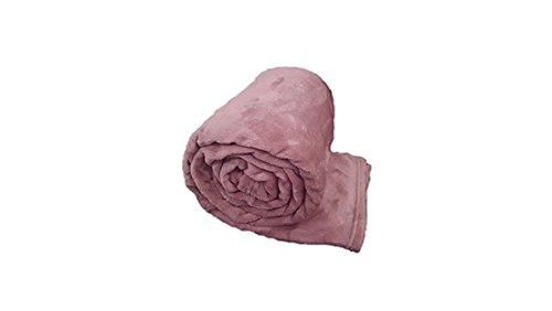 Morbida Coperta Plaid in Pile Matrimoniale Una Piazza e Mezza Tinta Unita (Matrimoniale, Rosa Antico)