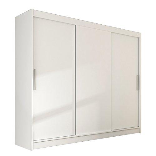 Modernes Kleiderschrank Aston II, Garderobe, Schlafzimmer, Schwebetürenschrank, Schlafzimmerschrank, 250 x 215 x58 cm Schiebetürenschrank (Weiß)