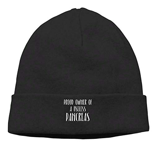 LOZWES Proud Owner of A Useless Pancreas.PNG New Winter Hats Knitted Twist Cap Thick Beanie Hat Black