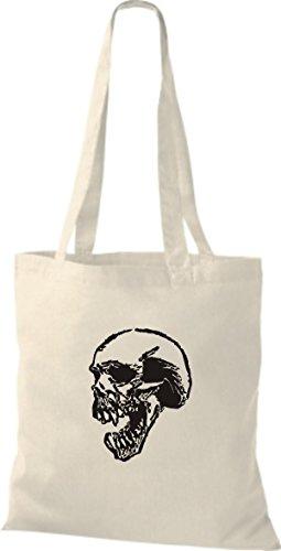 ShirtInStyle Stoffbeutel Skull Totenkopf Schädel diverse Farbe natural