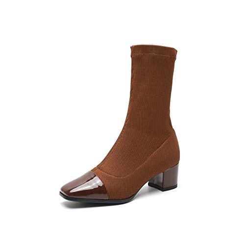 MENGLTX High Heels Sandalen Mode Frauen Mid-Calf Boots Echtes Leder Herbst Winter Warme High Heels Schuhe Frau Büro Karriere Qualität Kurze Stiefel 8 Braun - Braun Mid Calf High Heel