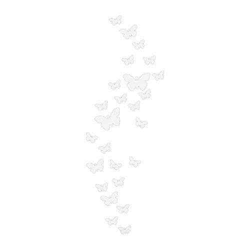 MagiDeal Schmetterling Geformt Spiegel Wandaufkleber Aufkleber Sticker DIY Kunst Silber Mural Haus Dekor