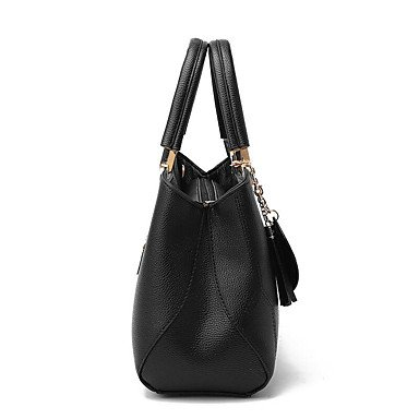 Damenmode Plaid PU Leder Messenger Umhängetaschen/Handtasche Tote Black
