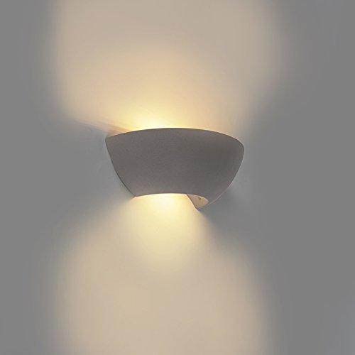 QAZQA Rétro Applique murale semi-ronde industrielle en béton - Chatou/Gris Autres E14 Max. 1 x 25 Watt/Luminaire/Lumiere/Éclairage/intérieur/Salon/Cuisine