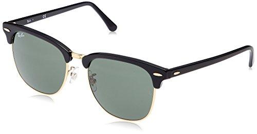 Ray-Ban Unisex-Erwachsene RayBan Clubmaster Sonnenbrille, Schwarz (Black Frame With G-15 Lenses), 55.0