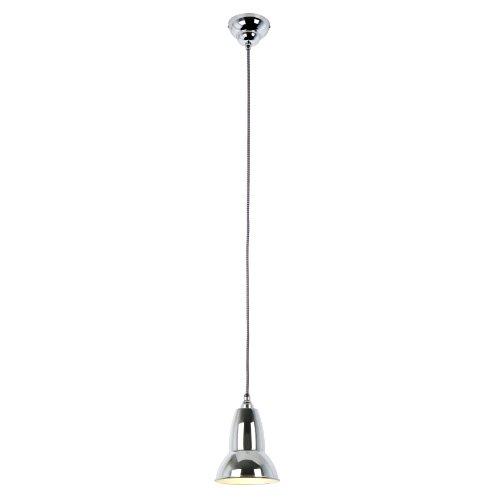 Anglepoise Duo - Lampada a sospensione, con cavo con calza trecciata nera/bianca, colore acciaio cromato,