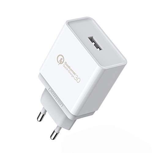 UGREEN Quick Charge 3.0 Chargeur Secteur USB Rapide 18W pour Samsung S10 Plus S9 S8 S7 Edge Note 8 Note 9 A8, Tab S5e S4 S3, iPad Air Pro iPhone, Huawei P9 P8 Lite Mate 8, Honor 9 Honor 8 (Blanc)