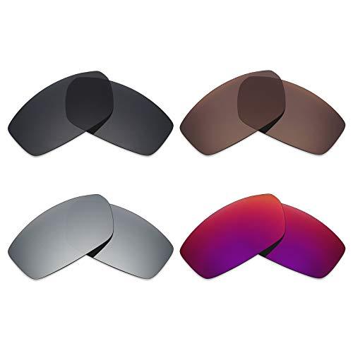 Mryok polarisierte Ersatzgläser für Spy Optic Dirty Mo Sonnenbrille, Stealth Black/Bronze Brown/Silver Titanium/Midnight Sun, 4 Paar
