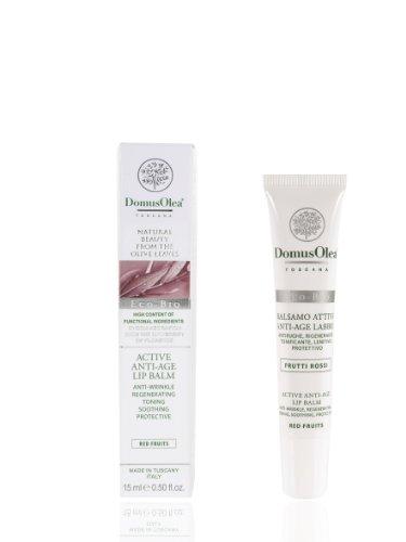 Domus Olea Toscana cosmeceutici organici Attivo Anti-Age Balsamo per le labbra, frutti rossi 15 ml
