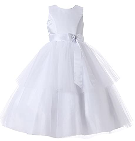 Aikolili Enfant Filles Mariage Soiree Ceremonie Parti Robe de Noeud Papillons Tulle 4-12 Ans (4 Ans, Blanc) (8 Ans, Blanc)