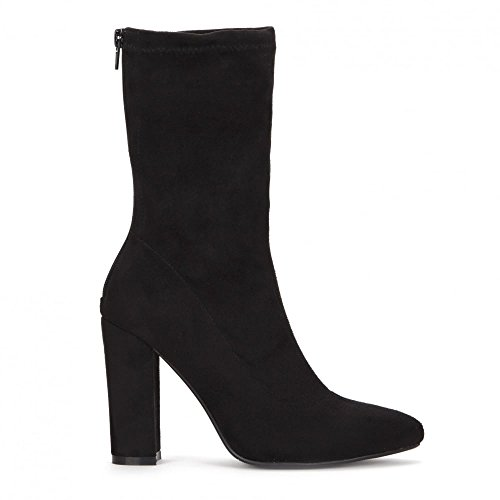 c03bc95496f Onlineshoe Women s Pointed Toe Sock Ankle Boot Block Heel UK7 - EU40 - US9  - AU8 Black Suede