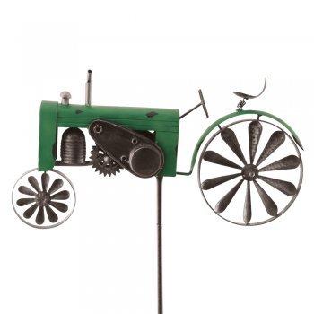 Roue éolienne en métal - Tracteur Vert - Résistant aux intempéries - Avec effet antiqueDiamètre 18 cm/10 cm - Motif :50 x 28 x 6 cm - Hauteur totale :140 cm - Avectige de support.