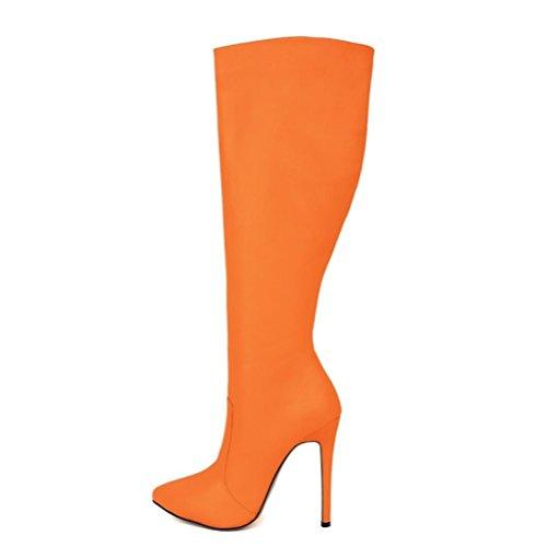 QPYC Stivali con tacco alto da donna Stivali con tacco alto da donna Stivali con tacco a punta con cerniera laterale Scarpe da donna autunno e inverno Orange