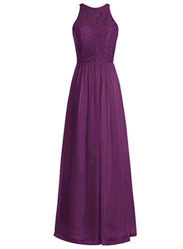 Bbonlinedress Chiffon A-Line Lang Brautjungfern Abendkleid Festkleid Grape