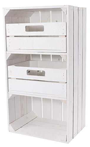 1x Vintage-Möbel 24 Weiße Regalkiste mit 2 Schubladen 75cm x 40cm x 31cm Obstkisten Schrank Holzbox Shabby chic Weiss...