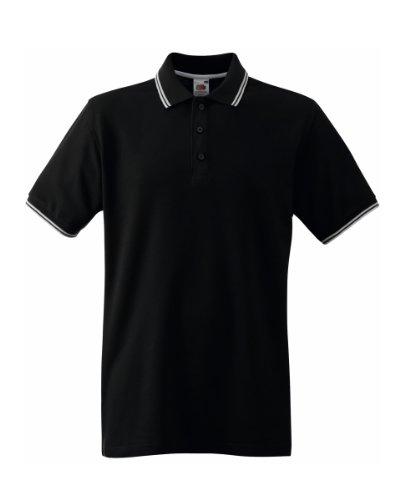 Fruit Of The Loom Tipped Polo Shirt für Männer (S) (Schwarz/Weiß) S,Schwarz/Weiß (1-streifen-polo)
