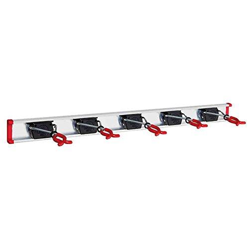 BRUNS Alu-Gerätehalter-Set | inkl. 5 Geräte-Haltern und Führungs-Schiene | Länge: 750 mm