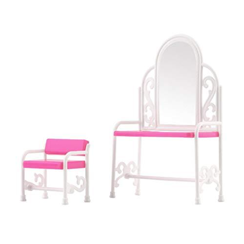 Hermosairis FUUNY Kreatives Design Baby Mädchen Spielzeug Schminktisch & Stuhl Zubehör Set Für Barbies Puppen Schlafzimmer Möbel