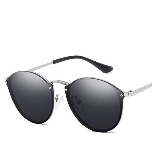 GJYANJING Sonnenbrille Runde Sonnenbrille FrauenCateye Retro Randlose Sonnenbrille Spiegel Sonnenbrille Weiblich