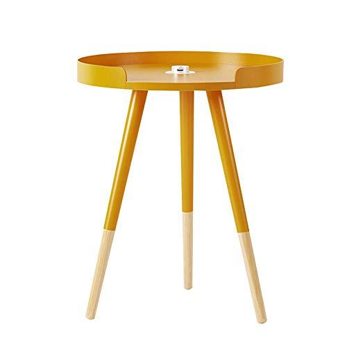 Laptopständer DD Kleiner runder Tisch mit USB-Buchse, Sofa-Beistelltisch, Schlafzimmer-Nachttisch-Wohnzimmer-Schlafzimmer-Regal -Werkbank (Farbe : Gelb) - Asche-wohnzimmer-sofa-tisch